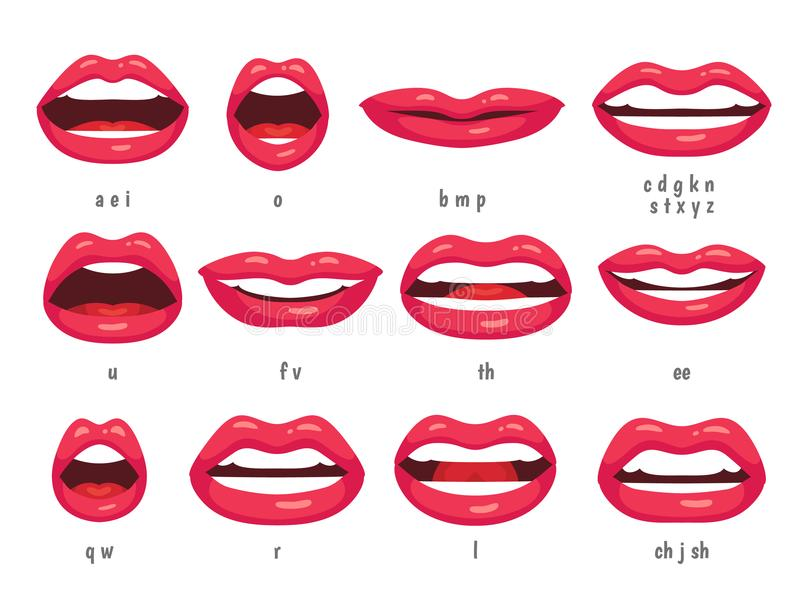 Mouth animation. Lip sync animated phonemes for cartoon woman character. Mouths with red lips speaking animations vector vector illustration