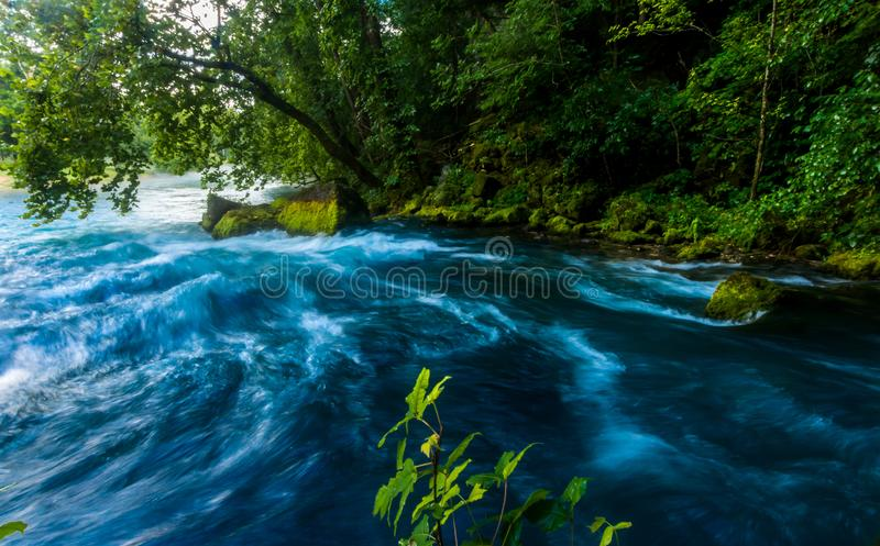 Mouth of the Big springs Branch in Missouri. Headwaters of the Big Spring, Big springs Missouri stock photography