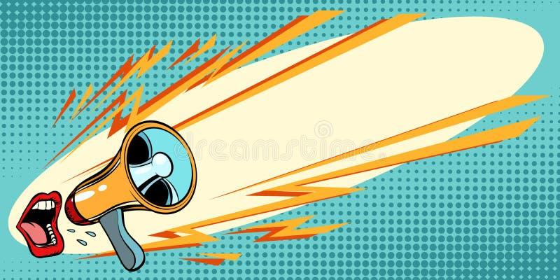 Mouth das Schreien in ein Megaphon Pop-Arten-Hintergrund lizenzfreie abbildung