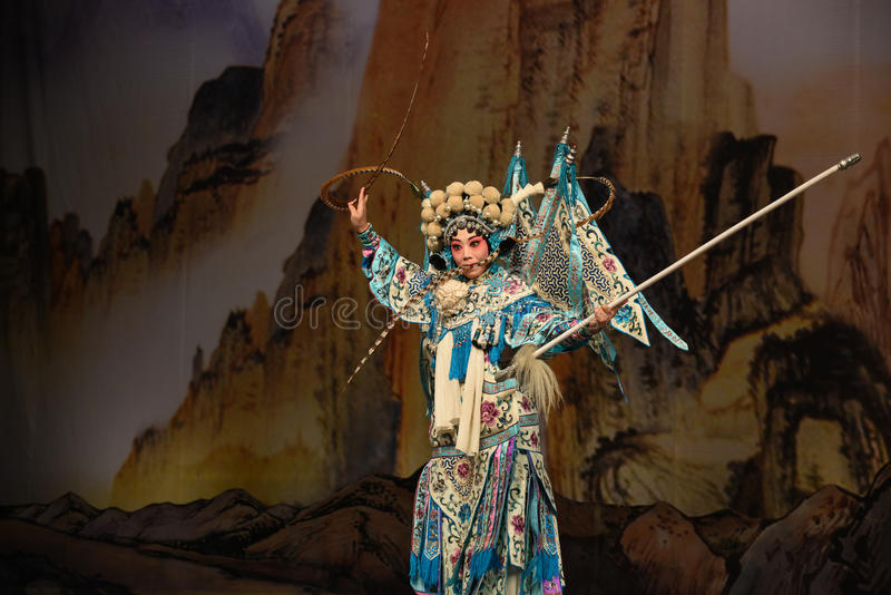 """In mouth with feathers- Beijing Opera"""" Women Generals of Yang Family"""". This opera tells a patriotic story how does an old woman of a hundred years royalty free stock photo"""