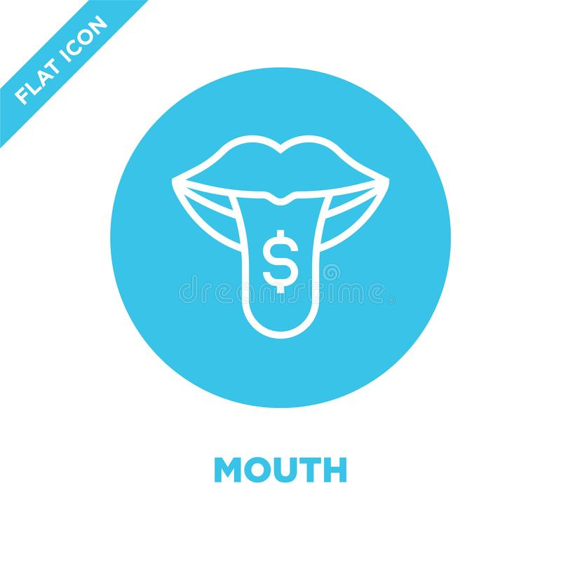 mouth icon vector from corruption elements collection. Thin line mouth outline icon vector  illustration. Linear symbol for use on stock illustration