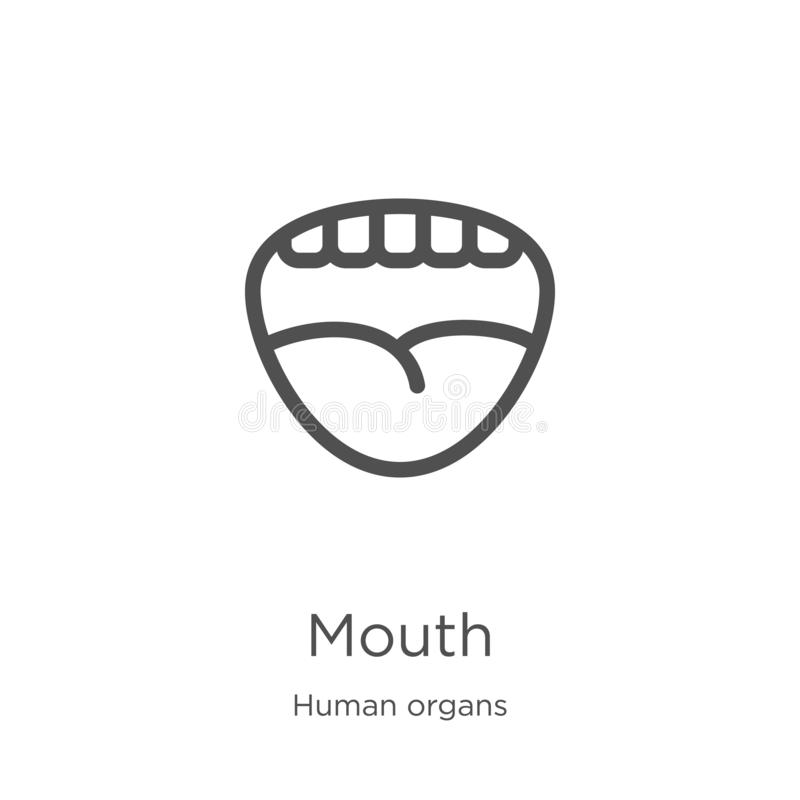 mouth icon vector from human organs collection. Thin line mouth outline icon vector illustration. Outline, thin line mouth icon royalty free illustration