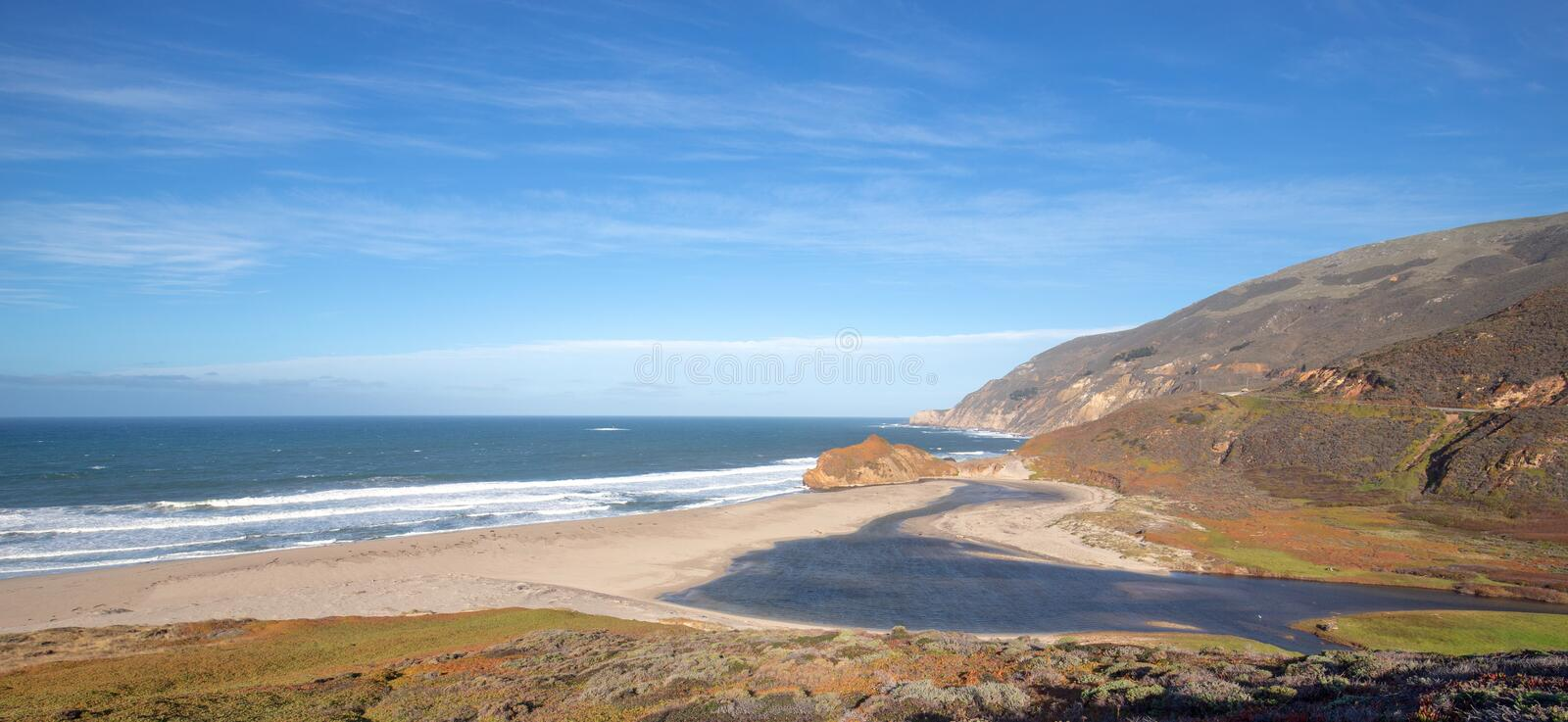 Mouth of the Little Sur river where it meets the Pacific Ocean at Point Sur on the Central California coast - USA. Mouth of the Little Sur river where it meets stock photo