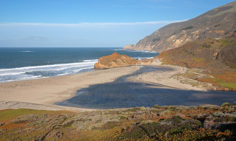 Mouth of the Little Sur river where it meets the Pacific Ocean at Point Sur on the Central California coast - USA. Mouth of the Little Sur river where it meets stock photography