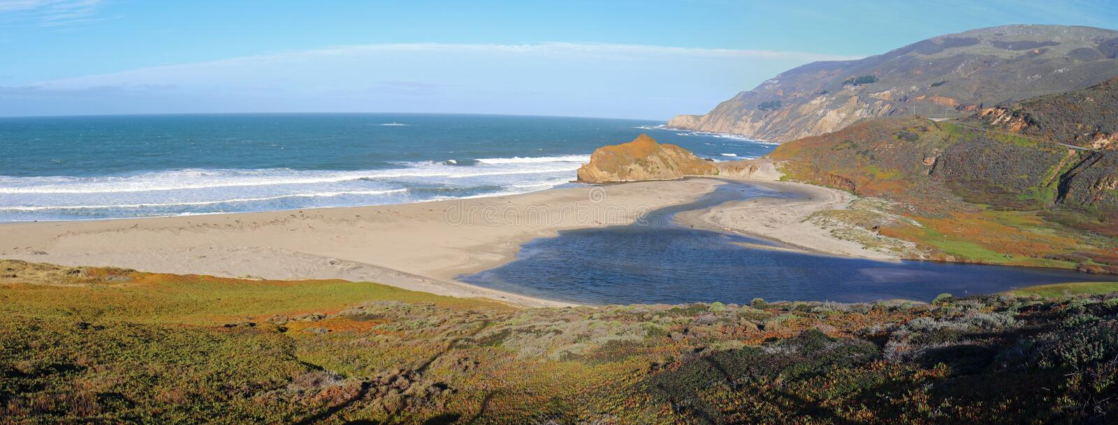 Mouth of the Little Sur river where it meets the Pacific Ocean at Point Sur on the Central California coast - USA. Mouth of the Little Sur river where it meets royalty free stock photo