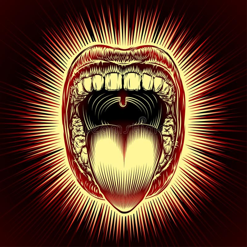 Mouth Open Tongue Scream Vintage Ink Hand Drawing Red. Open mouth with teeth and tongue on radiant beams background in retro stamping hand drawing style. Close vector illustration