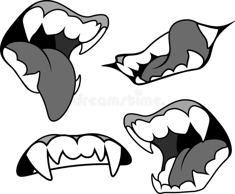 Mouth with pointed fangs in several versions. Vampire, werewolf, evil, halloween. stock photos