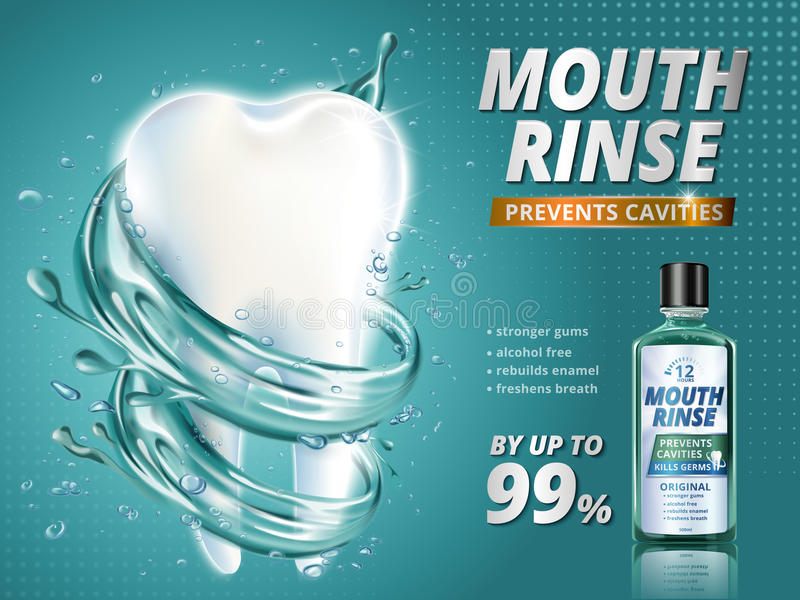 Mouth rinse ads. Refreshing mouthwash product with giant healthy tooth model surrounded by clean liquid in 3d illustration, turquoise background vector illustration