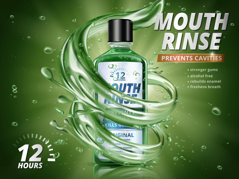Mouth rinse ads. Refreshing mouthwash product with splashing aqua elements and water drops in 3d illustration, green background stock illustration