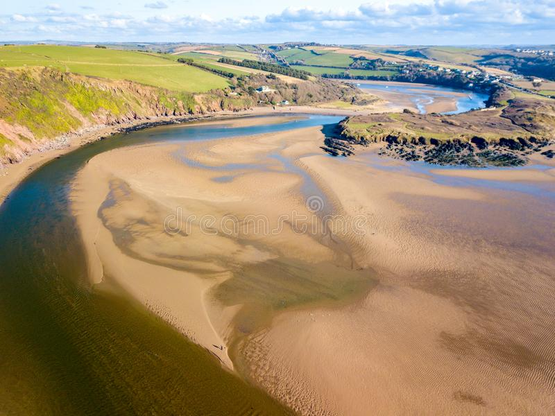 The mouth of the River Avon at Bantham, Devon, UK. An aerial landscape of the River Avon at Bantham in Devon, United Kingdom royalty free stock image