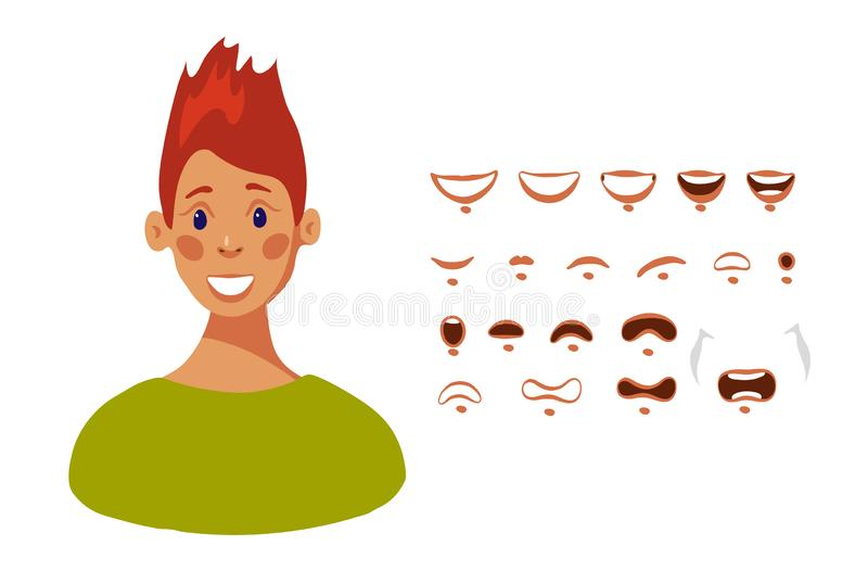 Mouth set of female cartoon character in flat design, vector illustration isolated on white background. vector illustration