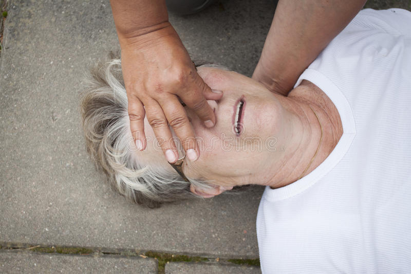 Mouth to mouth resuscitation stock image
