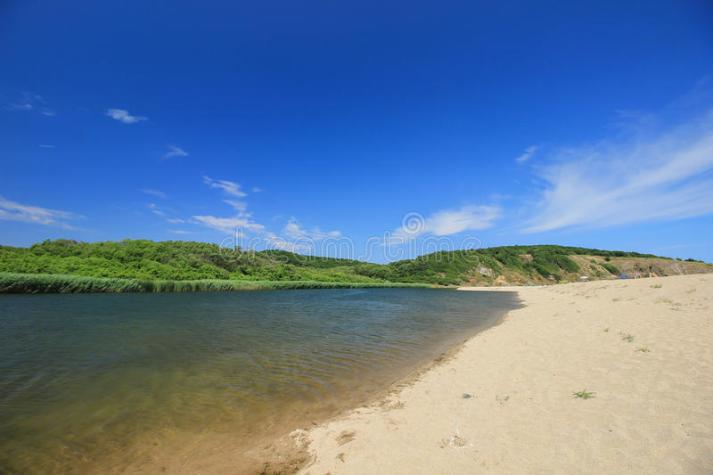 The mouth of the Veleka river at Sinemorets, Bulgaria stock image