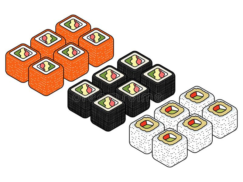 Isometric sushi icons on blue background for other categories. Mouth-watering Isometric set of a few kinds of sushi rolls Vector flat style design isolated on stock illustration