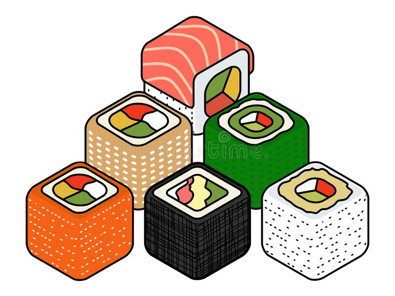 Isometric sushi icons on blue background for other categories. Mouth-watering Isometric set of a few kinds of sushi rolls Vector flat style design isolated on royalty free illustration