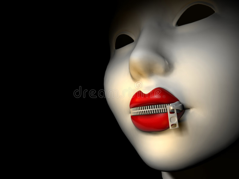 Mouth with zipper 3 stock illustration