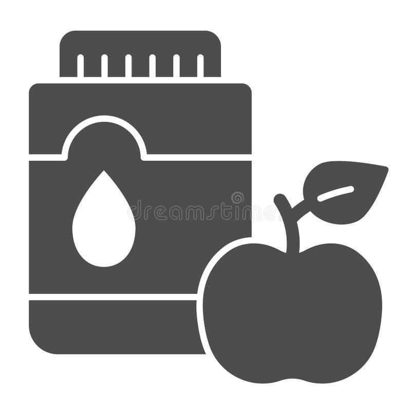 Mouthwash со значком яблока твердым Иллюстрация вектора рта антисептиковая изолированная на белизне Дизайн стиля глифа зубоврачеб бесплатная иллюстрация