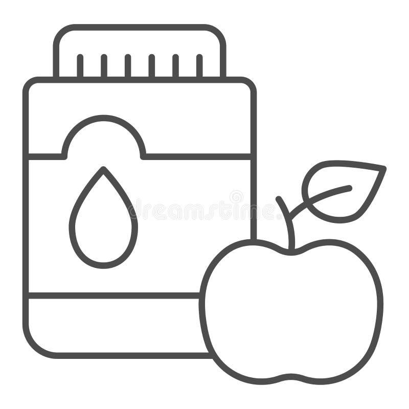 Mouthwash с линией значком яблока тонкой Иллюстрация вектора рта антисептиковая изолированная на белизне Стиль плана зубоврачебно иллюстрация вектора