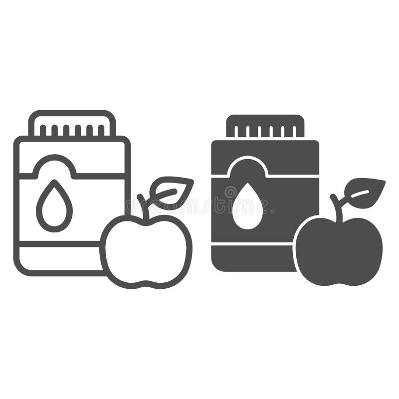 Mouthwash с линией яблока и значком глифа Иллюстрация вектора рта антисептиковая изолированная на белизне План зубоврачебной забо бесплатная иллюстрация