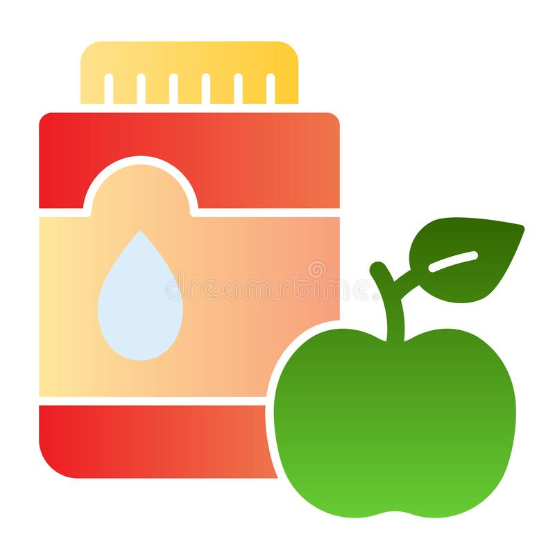 Mouthwash со значком яблока плоским Изреките антисептиковые значки цвета в ультрамодном плоском стиле Дизайн стиля градиента зубо иллюстрация вектора
