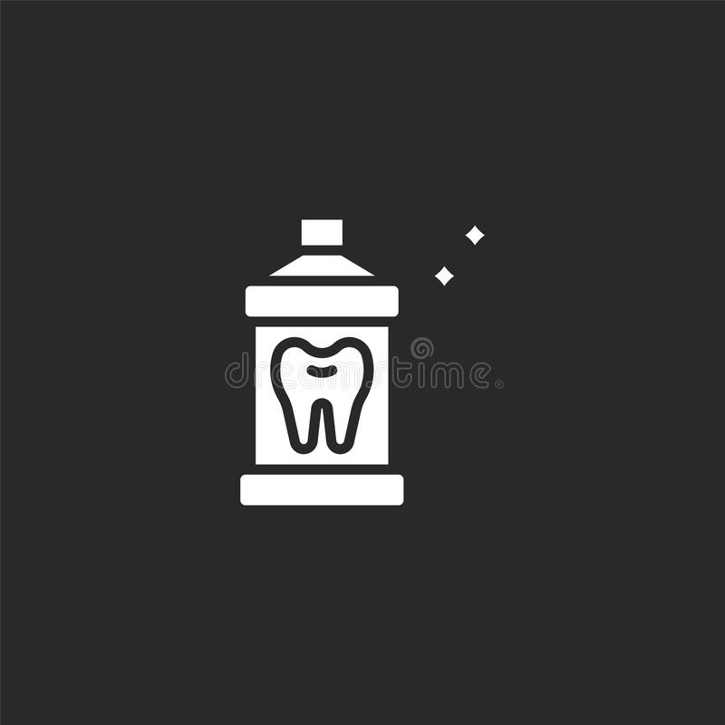 Mouthwash icon. Filled mouthwash icon for website design and mobile, app development. mouthwash icon from filled dental collection. Isolated on black background vector illustration