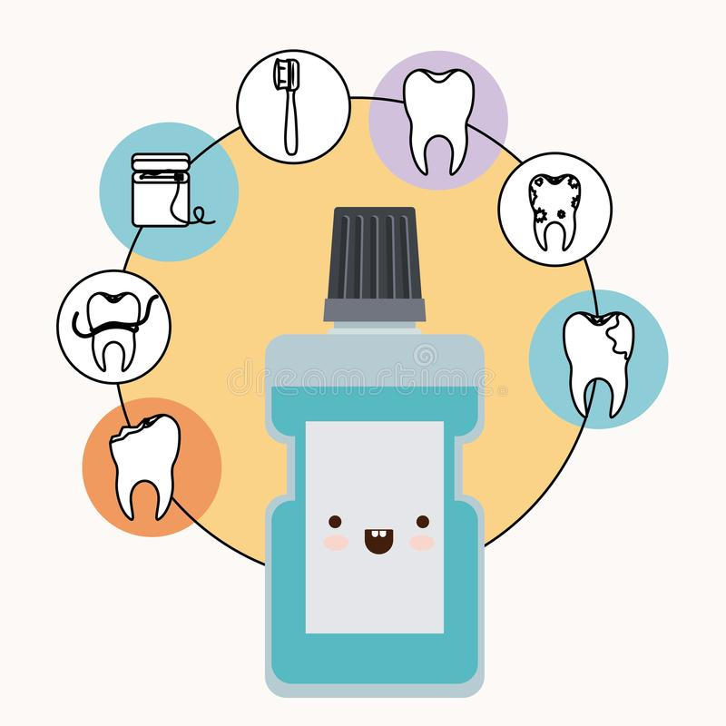 Mouthwash kawaii with happiness expression with circular frame icons dental care on white background. Vector illustration vector illustration