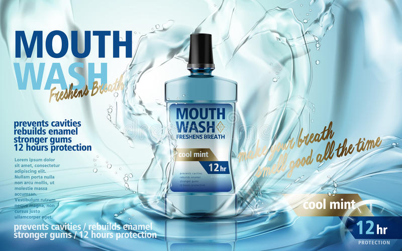 Mouthwash product ad. Mouthwash mint flavor, with water splash and ripples, 3d illustration vector illustration