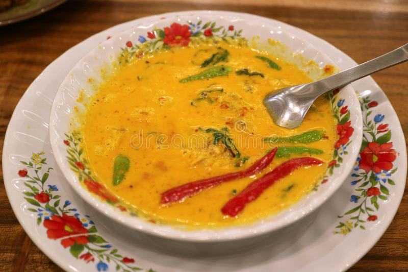 Mouthwatering Thai Coconut Milk Yellow Curry Fish Soup stock image