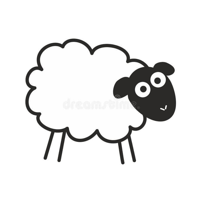Moutons étonnés Illustration de vecteur d'insomnie d'isolement sur le fond blanc illustration libre de droits