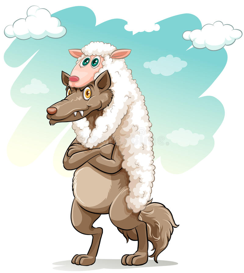 Moutons étreignant le loup illustration stock