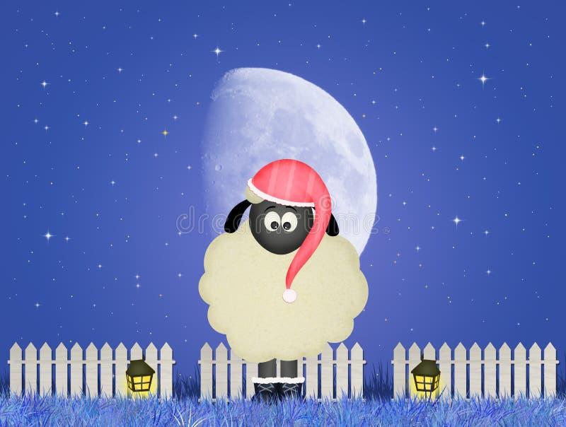 Moutons avec le bonnet de nuit illustration stock
