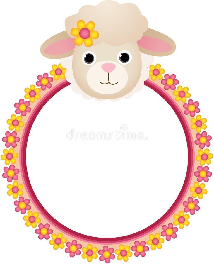Moutons avec le cadre de fleur illustration libre de droits