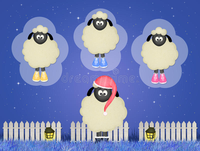 Moutons comptant des moutons illustration stock