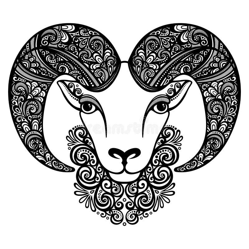 Moutons décoratifs de vecteur avec les klaxons modelés illustration de vecteur