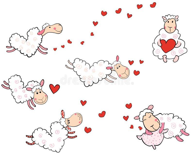 Moutons d'amour sous forme de coeurs illustration libre de droits