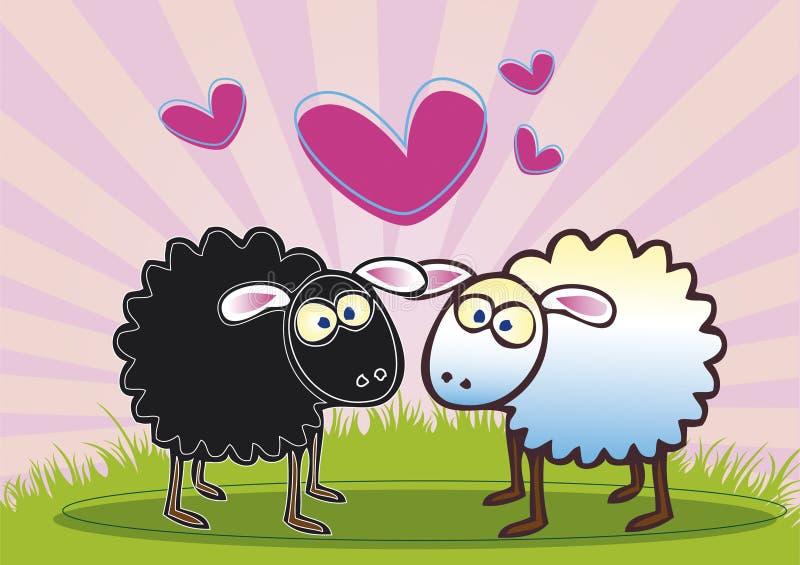 Moutons dans l'amour illustration libre de droits