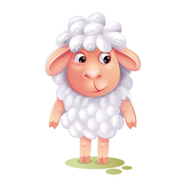 Moutons de bande dessinée Agneau mignon d'isolement sur le fond blanc Bande dessinée c illustration stock