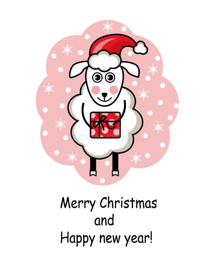 Moutons de bande dessinée tenant un cadeau illustration stock
