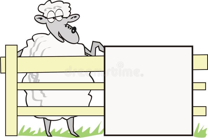 Moutons de dessin animé avec le signe illustration de vecteur