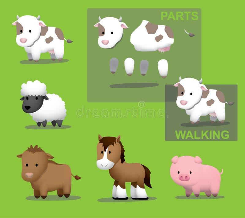 Moutons de porc de cheval de bétail de vache à la ferme d'animaux illustration stock