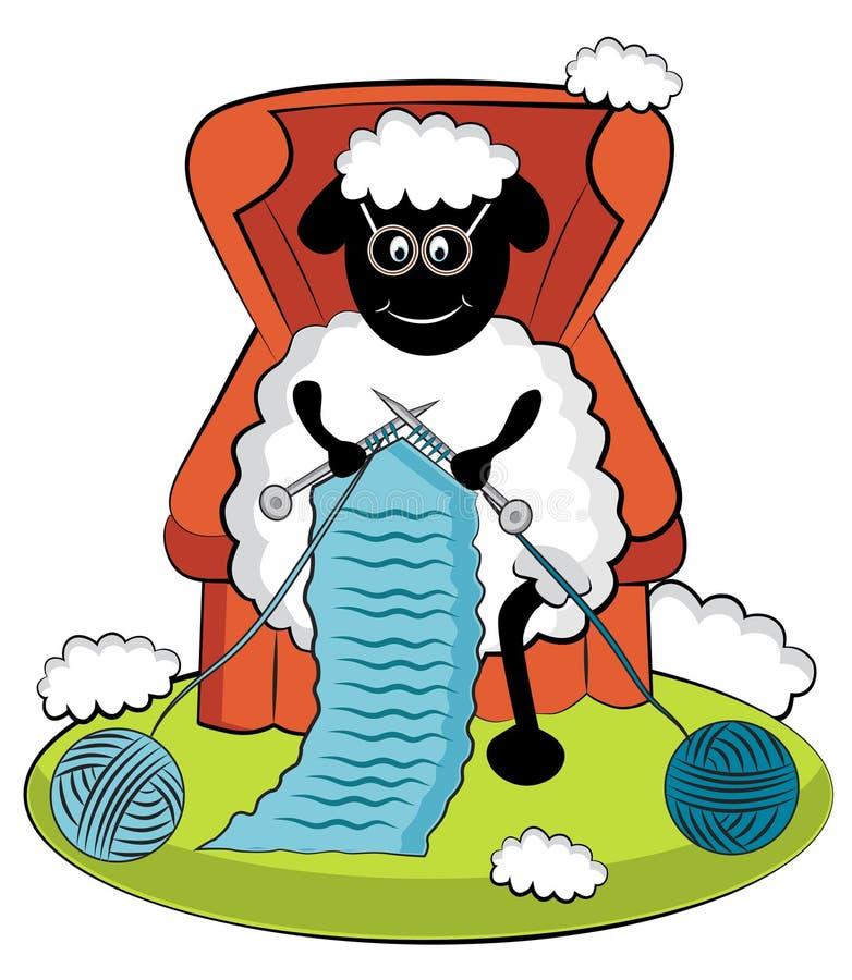 Moutons de tricotage de bande dessinée illustration libre de droits