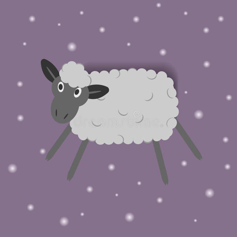 Moutons drôles de bande dessinée sur le fond rose illustration de vecteur
