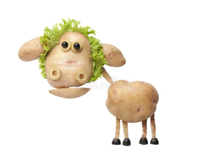 Moutons drôles faits de pommes de terre et salade photographie stock