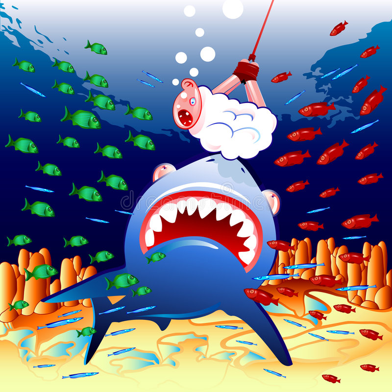 Moutons et requin illustration stock
