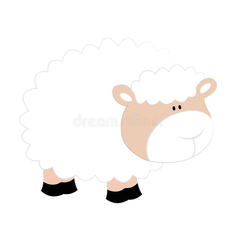 Moutons gentils de bande dessinée sur le fond blanc photographie stock libre de droits