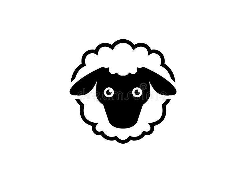Moutons laineux avec le logo de tête et de queue illustration de vecteur