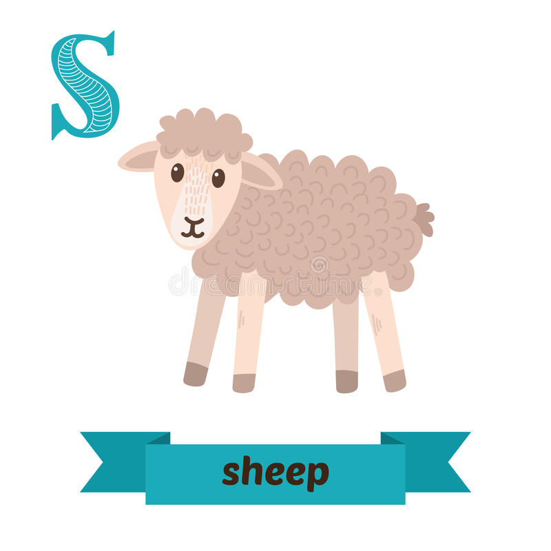 Moutons Lettre de S Alphabet animal d'enfants mignons dans le vecteur drôle illustration stock