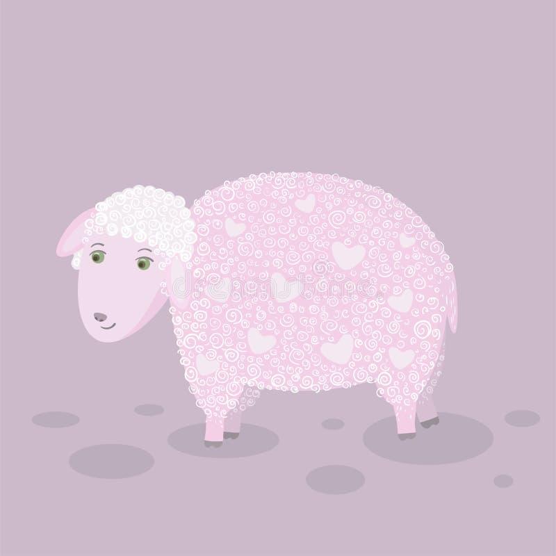 Moutons lilas avec des coeurs illustration libre de droits