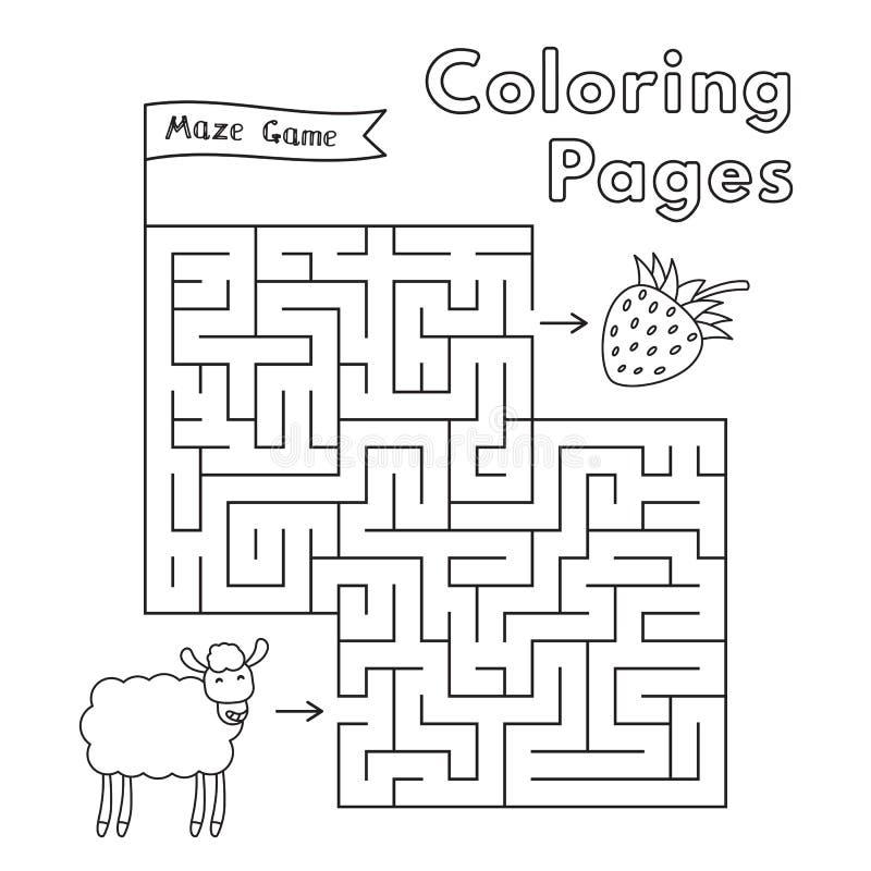 Moutons Maze Game de bande dessinée illustration de vecteur