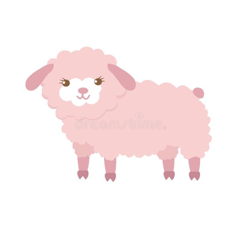 Moutons mignons dans le style plat d'isolement sur le fond blanc Illustration de vecteur Moutons de bande dessinée illustration de vecteur
